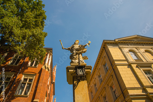 Krakow, Poland: Monument to the Saint. Beautiful buildings in the historical center of Krakow