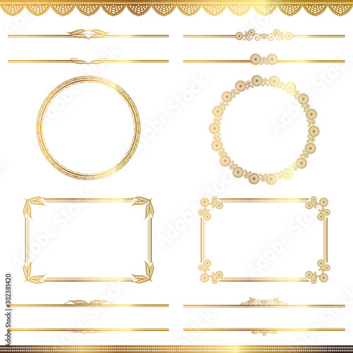 Pinturas sobre lienzo  set of golden abstract frames