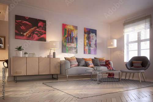 Furnishings and Art Panintings Inside an Apartment (project) - 3d visualization