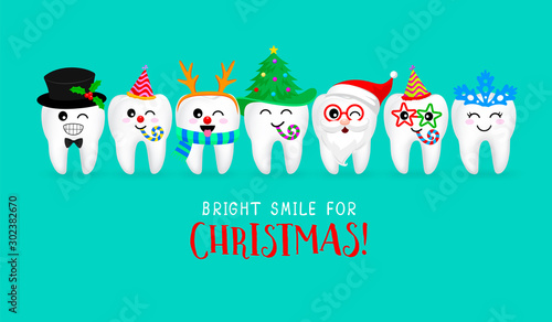 Fototapeta Set of Christmas tooth characters. Emoticons facial expressions. Funny dental care concept. Vector illustration isolated on green background. obraz