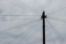 Old Wooden Electrical Pole Wit...