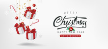 Merry Christmas Sale Banner Background.Merry Christmas Text Calligraphic Lettering Vector Illustration.