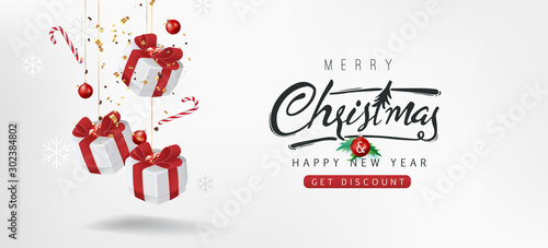 Merry christmas sale banner background.Merry Christmas text Calligraphic Lettering Vector illustration. - 302384802