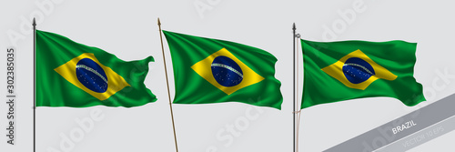 Set of Brazil waving flag on isolated background vector illustration Fotobehang