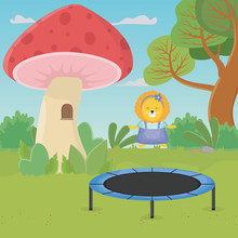 Lion Jumping Trampoline Mushro...