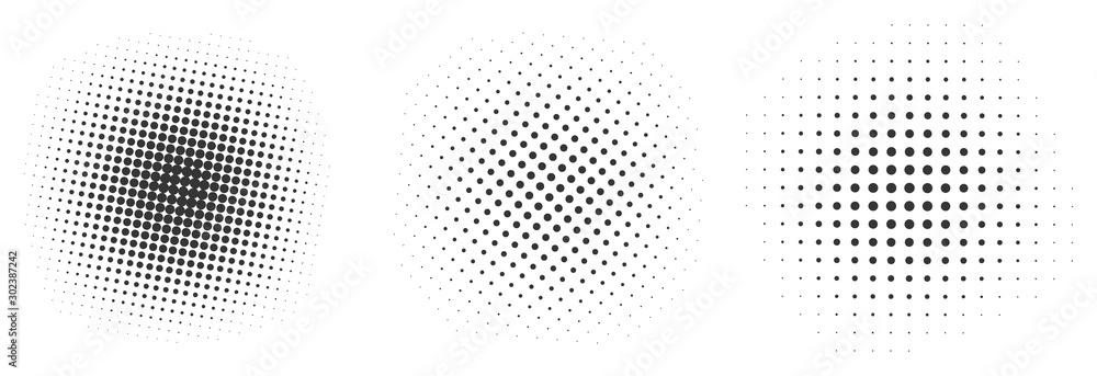 Fototapeta Set of black halftone dots backgrounds.