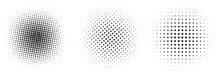 Set Of Black Halftone Dots Backgrounds.