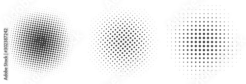 Photo Set of black halftone dots backgrounds.