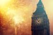 Explosive fireworks around Big Ben.