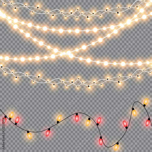 Obraz Glowing Christmas lights isolated realistic design elements. Garlands, Christmas decorations lights effects. - fototapety do salonu