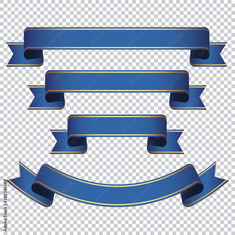 Fototapeta blue ribbon banner set on transparent background