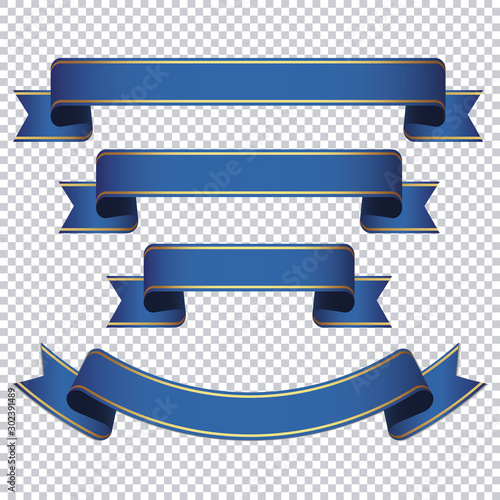Obraz blue ribbon banner set on transparent background - fototapety do salonu