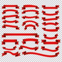 Red Ribbon Banner Set On Transparent Background
