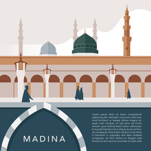 Masjid Nabawi At Madina Saudi Arabia. Important Places To Go When You Go To Hajj&Umrah With Minimal Style Design For Brochure Template Background Banner Poster Flyer Split Layer Of Text And Background