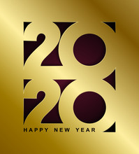 Happy New Year Gold Card. Minimalist 2020 Calendar, Invitation. Vector Illustration. Isolated On Red Black Background.