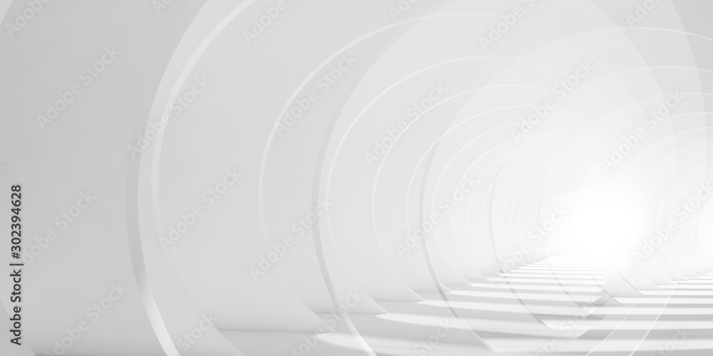 Abstract white tunnel background