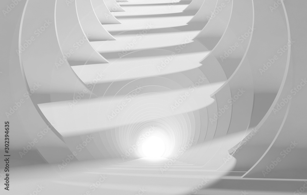 Fototapeta Abstract white tunnel perspective