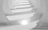 Fototapeta Scene - Abstract white tunnel perspective