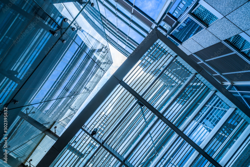 Fototapety, obrazy: modern office building,blue toned image,china.