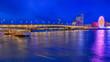 canvas print picture - Rhein und Brücke bei Nacht in Köln