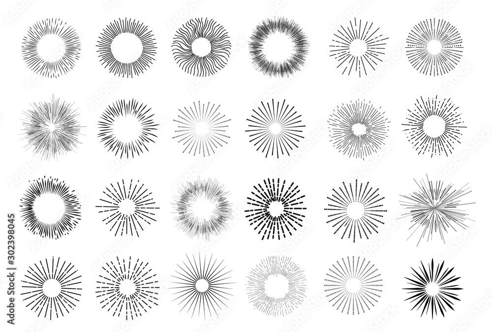 Fototapeta Set of vintage hand drawn sunburst rays design elements, explosion, fireworks black ray's. Vintage sunburst. Elements for graphic and website design. Vector illustration. Isolated on white background.