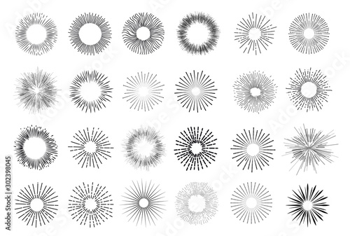 Obraz Set of vintage hand drawn sunburst rays design elements, explosion, fireworks black ray's. Vintage sunburst. Elements for graphic and website design. Vector illustration. Isolated on white background. - fototapety do salonu