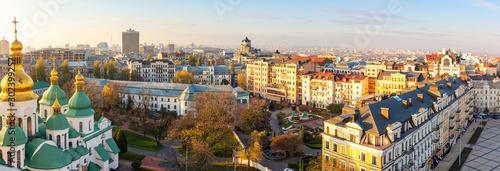 Fototapeta Aerial view of Kyiv city, center district, Ukraine. Panoramic cityscape obraz