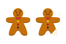 Couple Of Cute Cartoon Gingerbread Men, Christmas Traditional Cookies, Biscuits, Whole And With Teeth Bite Mark.