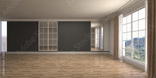 Obraz Empty interior with window. 3d illustration - fototapety do salonu