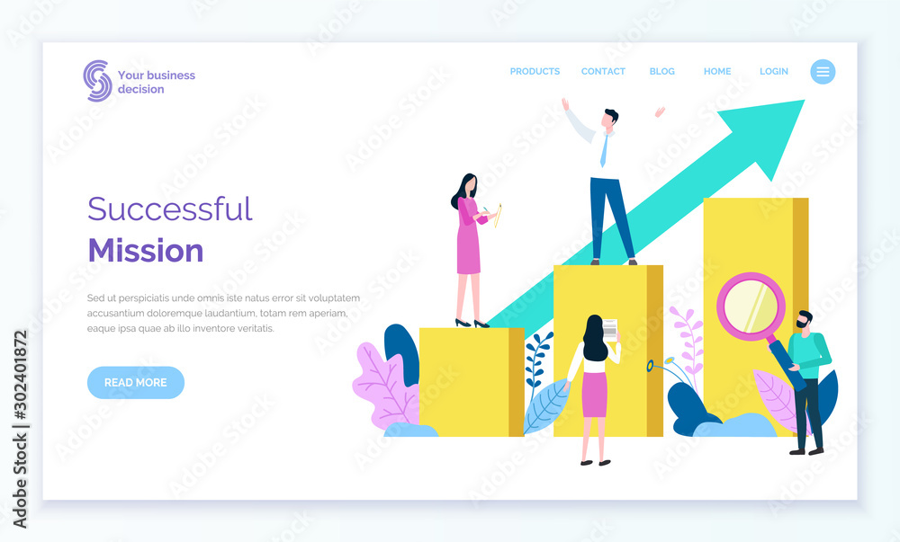 Fototapeta Successful mission of leader vector, person standing on top of chart. Workers helping businessman assistants managing and analyzing stats. Website or webpage template, landing page flat style