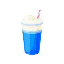 Glass Of Ice Cream Soda With Straw. Vector Illustration Cartoon Flat Icon Isolated On White.
