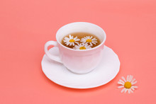 Tea With Camomile In A White Cup. Phytotea, Healthy Lifestyle