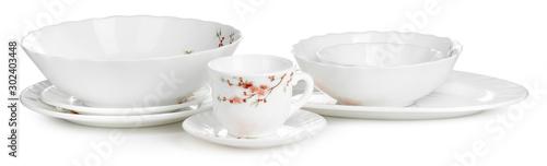 Fotomural white ceramics tableware set isolated on white background