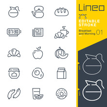 Lineo Editable Stroke - Breakfast And Morning Line Icons