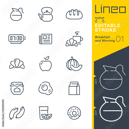 Lineo Editable Stroke - Breakfast and Morning line icons Fototapete