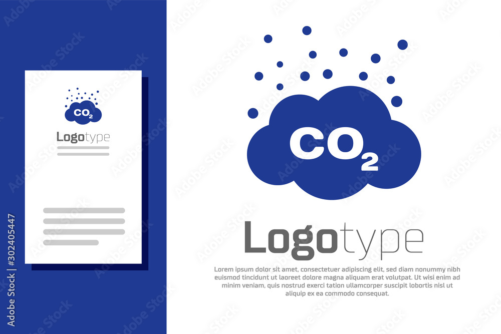 Fototapeta Blue CO2 emissions in cloud icon isolated on white background. Carbon dioxide formula symbol, smog pollution concept, environment concept. Logo design template element. Vector Illustration