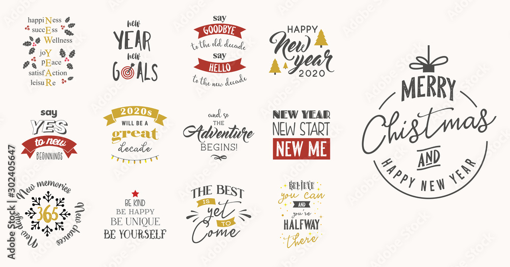 Fototapety, obrazy: new year insparation greeting phrases. Calligraphy postcard or poster graphic design element lettering set.