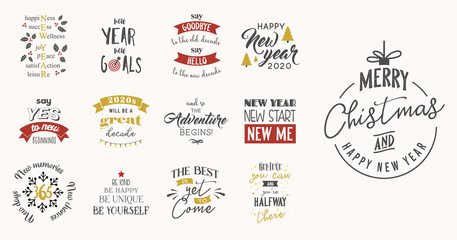 new year insparation greeting phrases. Calligraphy postcard or poster graphic design element lettering set.