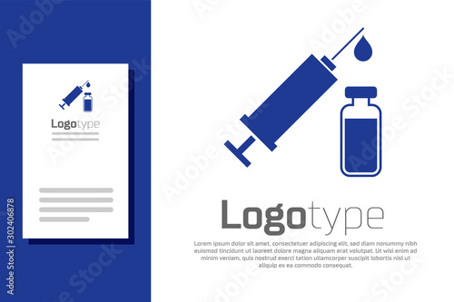 Blue Medical syringe with needle and vial or ampoule icon isolated on white background Canvas Print