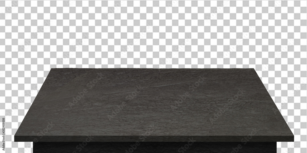 Fototapeta Empty black stone or granite table top isolated on checkered background including clipping path