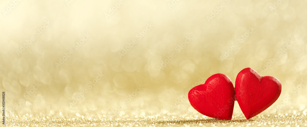 Fototapety, obrazy: Two hearts on bokeh background