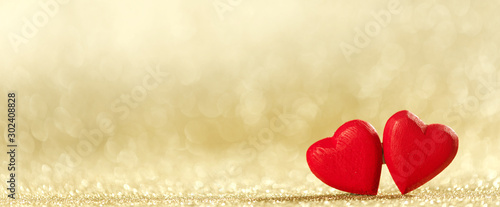 Poster Individuel Two hearts on bokeh background