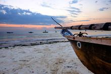 Beached Fishing Boat On Uroa B...