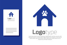 Blue Dog House And Paw Print P...