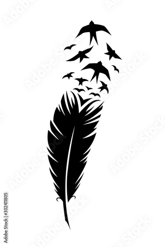 Cuadros en Lienzo Print art concept colorful design tattoo black feather flying birds swallows silhouette