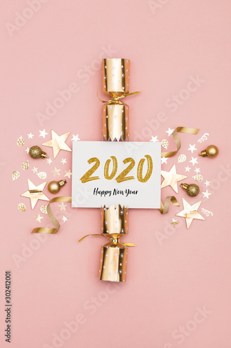 2020 Happy New Year party background Canvas Print