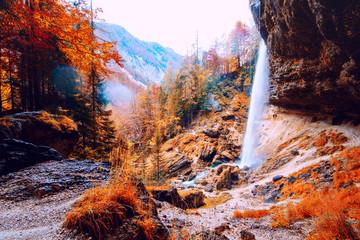 Panel Szklany Wodospad Waterfall Pericnik in Slovenia, Europe