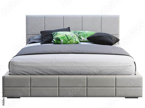 Fényképezés Modern gray leather frame double platform bed with bed linen and accent pillows