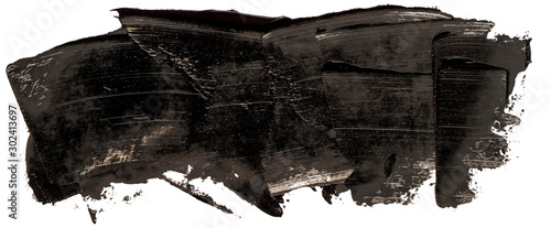 Fototapeta Hand drawn isolated rectangular paintbrush stripe with dirty black color esp 10 vector illustration template fot your text. obraz