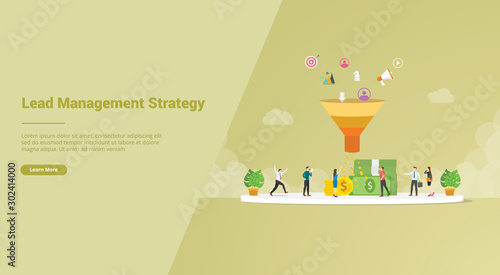 lead management strategy concept for website template or landing homepage banner Fototapeta